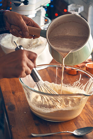 Making the eggnog custard