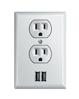 USB outlet with two ports