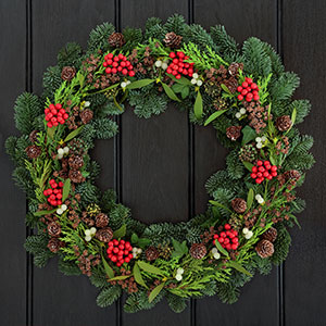beautiful natural handmade wreath on front door